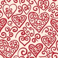 Seamless pattern with hearts vector hand drawn doodle in red swirl design elements Stock Images
