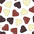 Seamless pattern with hearts from the white, black, brown chocol