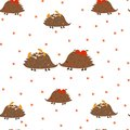 stock image of  Seamless pattern: hedgehogs, mushrooms, apples, footprints on a white background. Flat vector.