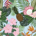 Seamless pattern with heliconia, aplumeria nd other tropical flowers.