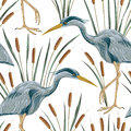Seamless pattern with heron bird and bulrush. Swamp flora and fauna