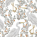 Seamless pattern with heron bird and cranberry plant. Rustic botanical background.