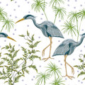 Seamless pattern with heron bird and swamp plants.