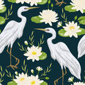 Seamless pattern with heron bird and water lily. Swamp flora and fauna