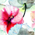 Seamless pattern with hibiscus flower watercolor painting Stock Photos