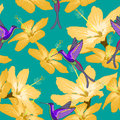 Seamless pattern with hibiscus flowers and hummingbird on green Royalty Free Stock Photo