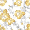 Gray marble texture with golden hibiscus flowers seamless vector pattern design
