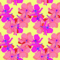 Seamless pattern with hibiscus on yellow background. vector illu