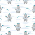 Seamless pattern with Hippo Sailor..