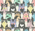 Seamless pattern with hipster cute cats