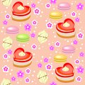 Seamless pattern. Holiday cakes in the form of heart, strawberry, marshmallows and flowers. Suitable as a gift wrapping for