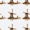 Seamless pattern Holland windmill.Watercolor Royalty Free Stock Photo