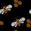 Seamless pattern with honey bee embroidery stitches imitation