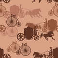 Seamless pattern of horse carriages and bicycles vintage Royalty Free Stock Images