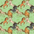 Seamless pattern of horses frolicking on green law cute a lawn Stock Photo