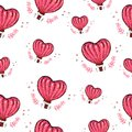 Seamless pattern with hot air balloon, heart vector background. Love. Perfect for wallpaper, pattern fill, web page background,