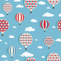 Seamless pattern hot air balloons clipping path Royalty Free Stock Images