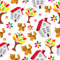 Vector seamless pattern with flower,cat, and house, cartoon dood