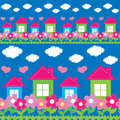 Seamless pattern of the house, flowers, clouds Stock Photography