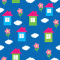 Seamless pattern of the house, flowers, clouds Stock Photos