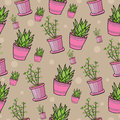 Seamless pattern with house plants in pink pots. Cute and colorful background.