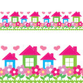 Seamless pattern of houses and flowers Stock Photography