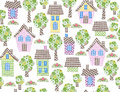 Seamless pattern  houses and trees. Royalty Free Stock Photo