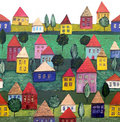 Seamless pattern, a housing estate. Royalty Free Stock Photos