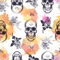Seamless pattern with human skulls and roses drawn in etching style and translucent orange and pink stains. Creative