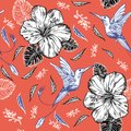 Seamless pattern with hummingbirds and tropical flowers