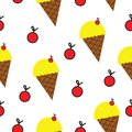 Seamless pattern with ice cream and cherries vector