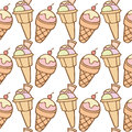 Seamless pattern of ice cream cones vector illustration Stock Photography