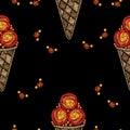 Seamless pattern Ice cream embroidery stitches imitation