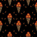 Seamless pattern with Ice cream embroidery stitches imitation