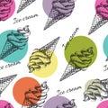 Seamless pattern with ice cream hand drawn