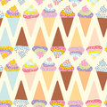 Seamless pattern  Ice cream waffle cone, set with cream and sprinkles, pastel colors on light background. Vector Royalty Free Stock Photo