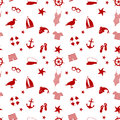 Seamless pattern. icon set in a marine style. accessories for a beach holiday.