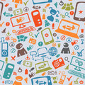 Seamless pattern of the icons on internet Royalty Free Stock Images