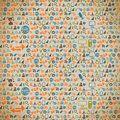 Seamless pattern of the icons on the internet in vintage style Royalty Free Stock Photos