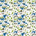 stock image of  Seamless pattern. Icons of tourism in nature, the family goes on a hike, ecotourism, a fisherman in a boat, nature types: mountain