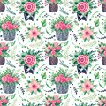 Seamless pattern Illustration of hand painted watercolor Decorative flower rose in a pot Blooms plant for the interior of the Royalty Free Stock Photo