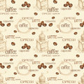 Seamless pattern with illustrations of coffee beans and grinder Royalty Free Stock Photos