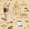 Seamless pattern with illustrations of coffee cup beans grinder and chocolate sweets Royalty Free Stock Image