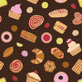 Seamless pattern with the image of cakes, chocolates, lemon and berries.