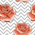 Seamless pattern with image pink rose flowers on a geometric background