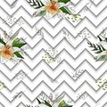 Seamless pattern with image tiger lily flowers on a geometric background Royalty Free Stock Photo