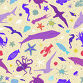Seamless pattern with images of marine animals.