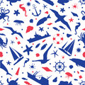 Seamless pattern with images of sea animals, ships, yachts and marine attributes. Royalty Free Stock Photo
