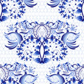 Seamless pattern imitation of painting on porcelain in the Russian style Gzhel or Chinese painting. Light background with birds.