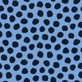 Seamless pattern. Indigo blue hand drawn imperfect polka dot spot shape background. Monochrome textured dotty ink circle all over
